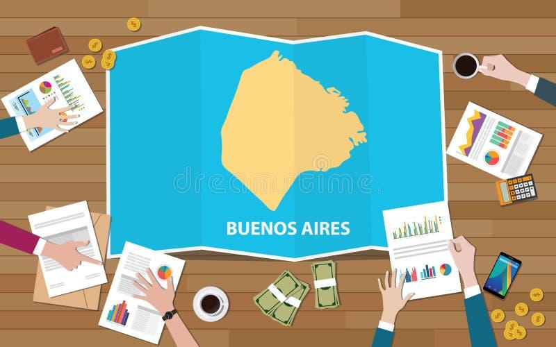 Buenos aires Argentina miasta regionu gospodarki przyrost z drużyną dyskutuje na fałd map widoku od wierzchołka ilustracji