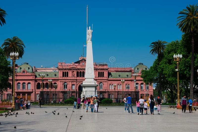 May Square Plaza de Mayo and the Pink House Casa Rosada. Buenos Aires, Argentina. October 14, 2018. May Square Plaza de Mayo and the Pink House Casa Rosada also royalty free stock photos