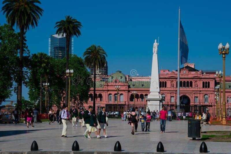 May Square Plaza de Mayo and the Pink House Casa Rosada. Buenos Aires, Argentina. October 14, 2018. May Square Plaza de Mayo and the Pink House Casa Rosada also stock images