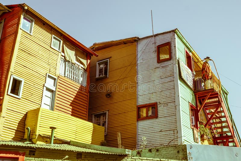 The colourful buildings of La Boca, Buenos Aires, Argentina. BUENOS AIRES, ARGENTINA - SEPTEMBER 13: Caminito View in Buenos Aires. Caminito is a traditional royalty free stock photography