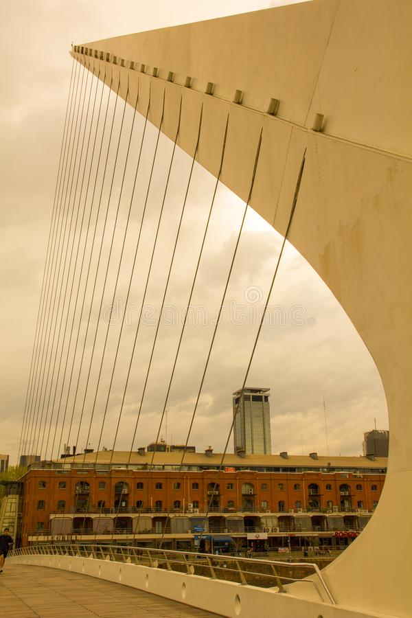 Detail of the bridge of the woman. in Buenos Aires, Argentina stock photo