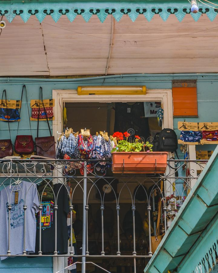 La Boca Neighborhood, Argentina. BUENOS AIRES, ARGENTINA, SEPTEMBER - 2018 - Exterior view of traditional constructions at famous la boca neighborhood, Buenos royalty free stock image