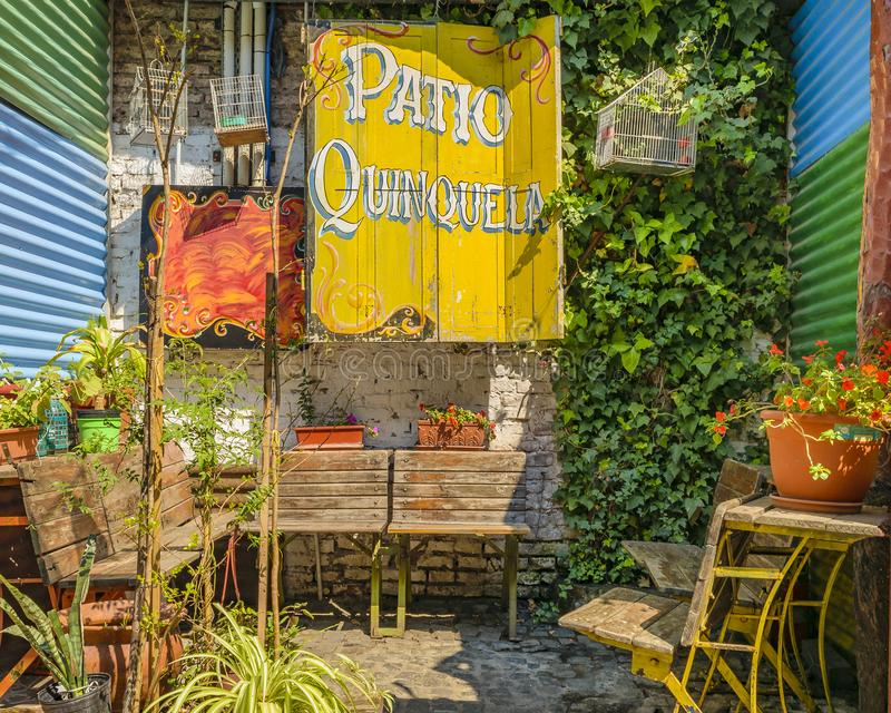 Traditional Outdoor Store, La Boca, Argentina. BUENOS AIRES, ARGENTINA, SEPTEMBER - 2018 - Exterior view of traditional constructions at famous la boca stock photos