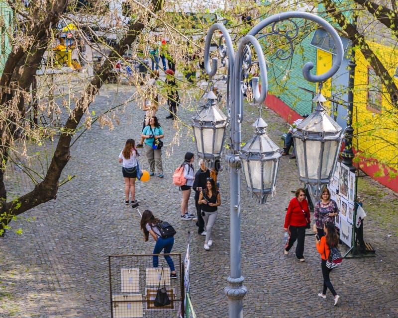 La Boca Neighborhood, Argentina. BUENOS AIRES, ARGENTINA, SEPTEMBER - 2018 - High angle traditional street at famous la boca neighborhood, Buenos Aires stock photos