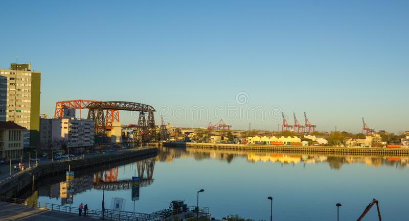 Panorama of the industrial part of La Boca, with cranes of the p. BUENOS AIRES, ARGENTINA - SEPTEMBER 13: Panorama of the industrial part of La Boca, with cranes royalty free stock photos