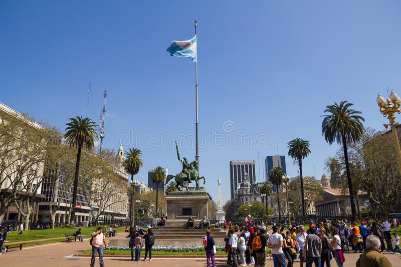 The Statue of Manuel Belgrano on the Plaza de Mayo in Buenos Air royalty free stock images