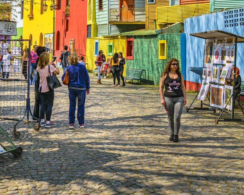 La Boca Neighborhood, Argentina. BUENOS AIRES, ARGENTINA, SEPTEMBER - 2018 - Traditional street at famous la boca neighborhood, Buenos Aires royalty free stock photo