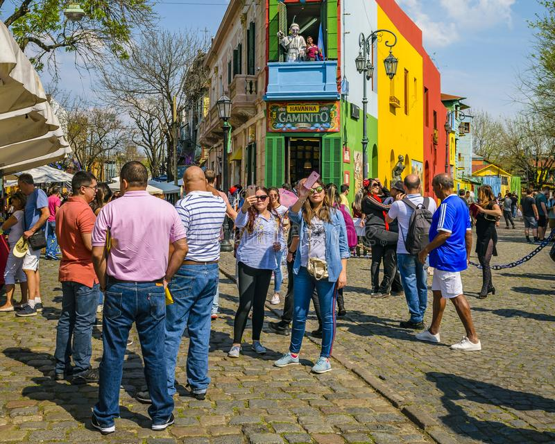 La Boca Neighborhood, Argentina. BUENOS AIRES, ARGENTINA, SEPTEMBER - 2018 - Traditional street at famous la boca neighborhood, Buenos Aires royalty free stock photography