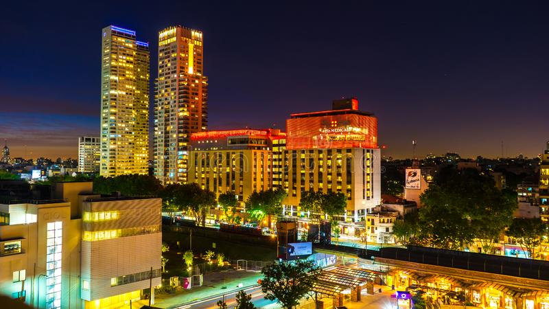 View on the Skyline of Buenos Aires in Argentina at night royalty free stock images