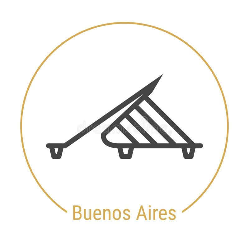 Buenos Aires Argentina vektorlinje symbol royaltyfri illustrationer