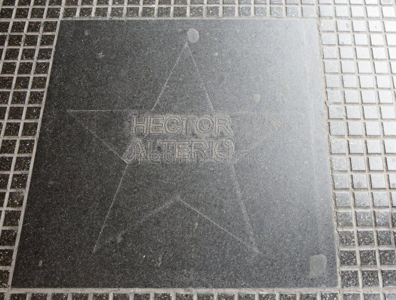 Buenos Aires, Argentinien, Schauspieler Hctor Alterio Star auf dem Bürgersteig stockbild