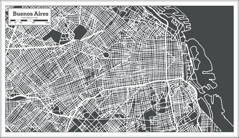 Buenos Aires Argentyna miasta mapa w Retro stylu Czarny i biały wektorowa ilustracja ilustracji