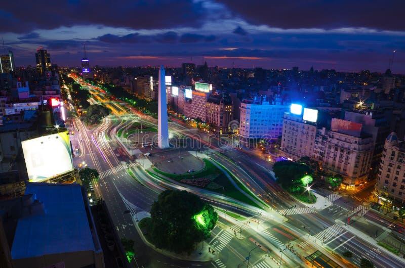 Buenos aires bij Nacht stock afbeelding