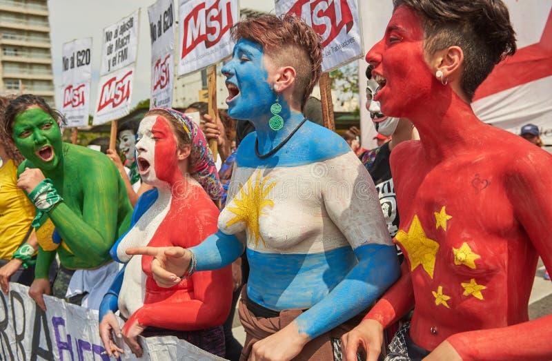 Buenos Aires C A B A , Argentina - November 30, 2018: protest för toppmöte g20, Buenos Aires royaltyfria foton