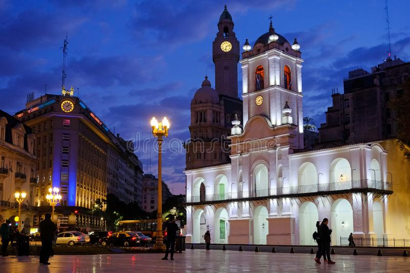 Buenos Aires Cabildo, the old town council, by night, Plaza De Mayo, main city square in Buenos Aires, Argentina. South America stock image