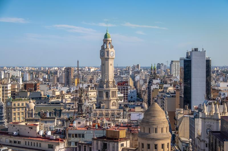 Buenos Aires City Legislature Tower and downtown aerial view - Buenos Aires, Argentina stock photo