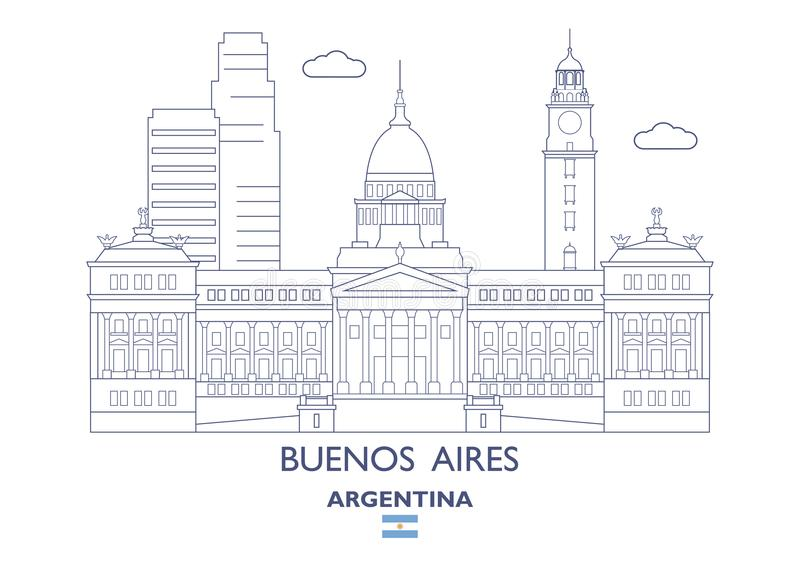 Buenos Aires City Skyline, Argentina vector illustration