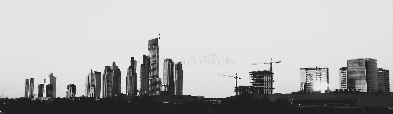 City skyline. Buenos Aires city skyline in black and white royalty free stock image
