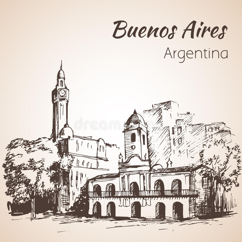 Buenos Aires city street and square. Argentina. Sketch. Isolated on white background stock illustration