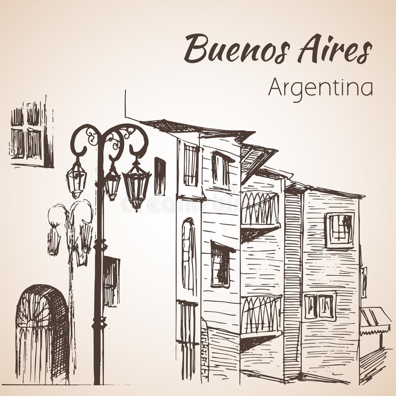 Buenos Aires cityscape Caminito. Argentina. Sketch. royalty free illustration