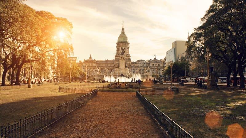 Buenos Aires, construção do congresso nacional fotos de stock