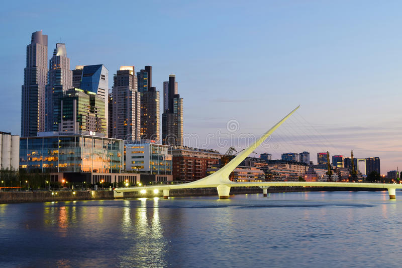 Buenos Aires - December 2, 2015: Night view of Puerto Madero, Bu royalty free stock photography