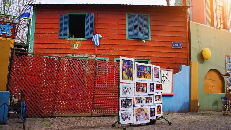 Buenos Aires, distrito del EL Caminito de la señal imagenes de archivo