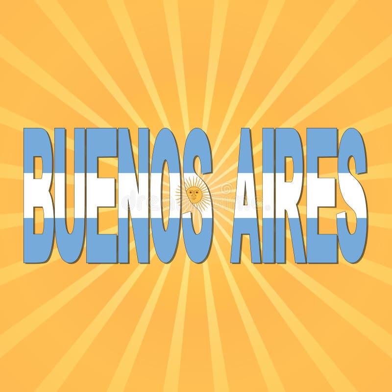 Buenos Aires flaggatext med sunburstillustrationen vektor illustrationer