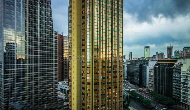 Buenos Aires Highrise II. Cloudy sunset in Buenos Aires, Argentina royalty free stock photography