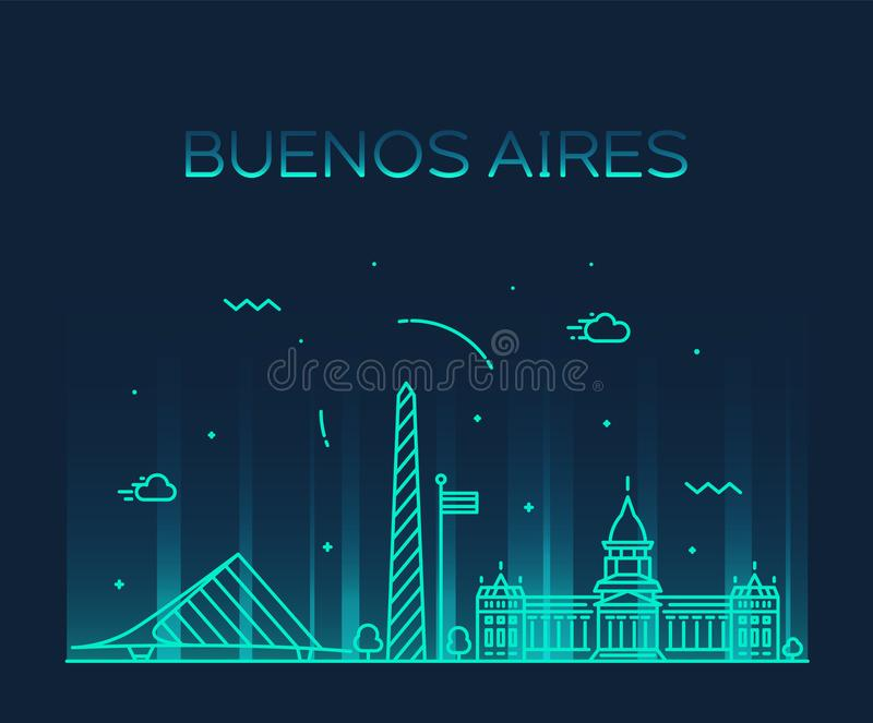 Buenos Aires horisont, linjär stad för Argentina vektor vektor illustrationer