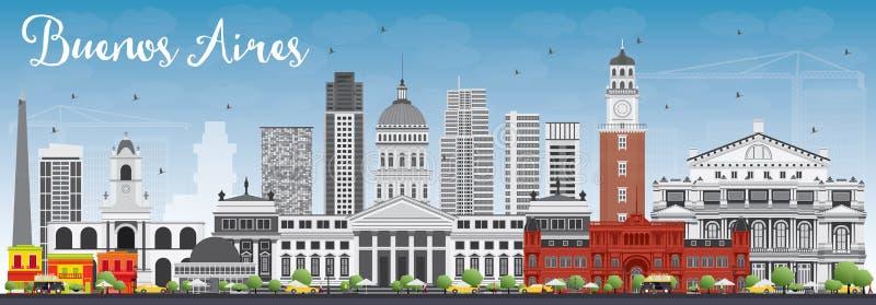 Buenos Aires horisont med färggränsmärken och blå himmel vektor illustrationer