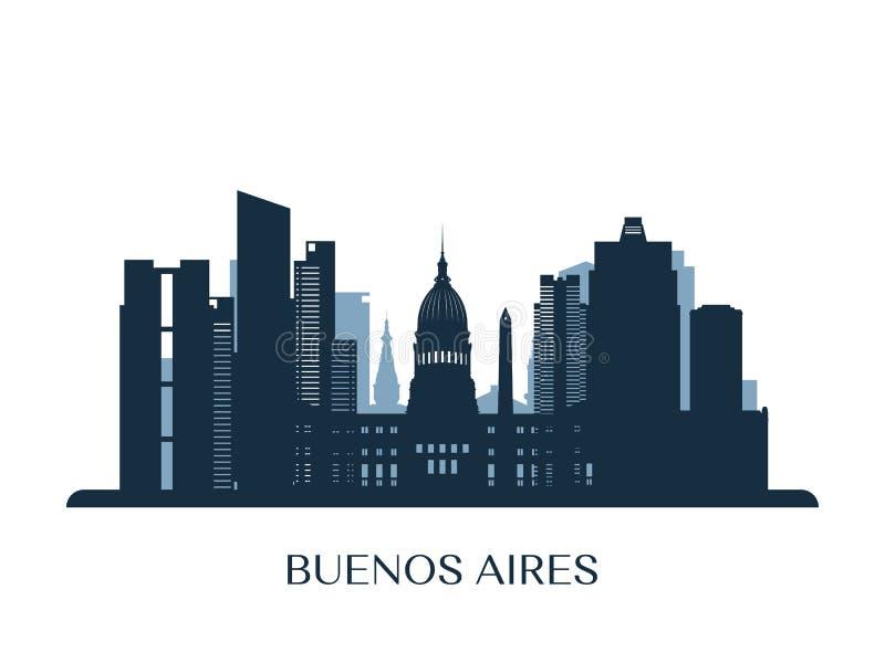 Buenos Aires horisont, monokrom kontur stock illustrationer