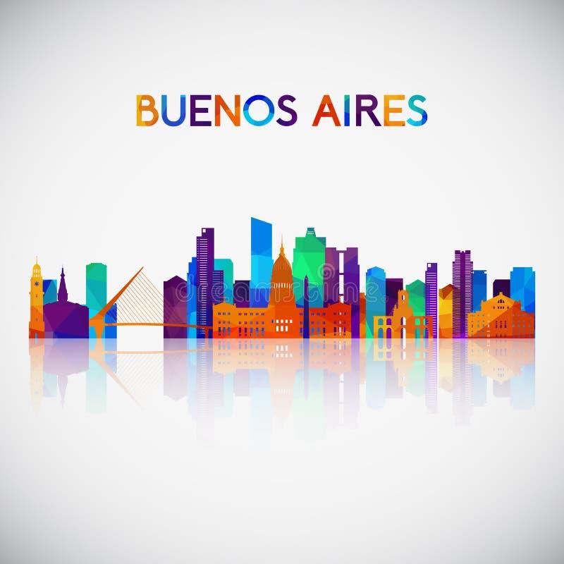 Buenos Aires horisontkontur i färgrik geometrisk stil stock illustrationer