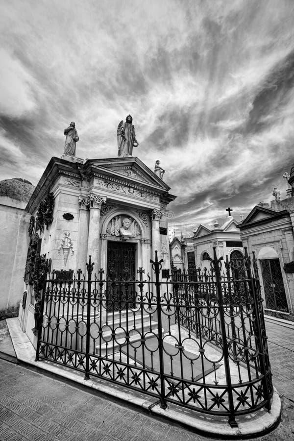 BUENOS AIRES JANUARI 30, 2016 - LaRecoleta kyrkogård som lokaliseras i den Recoleta grannskapen arkivbild