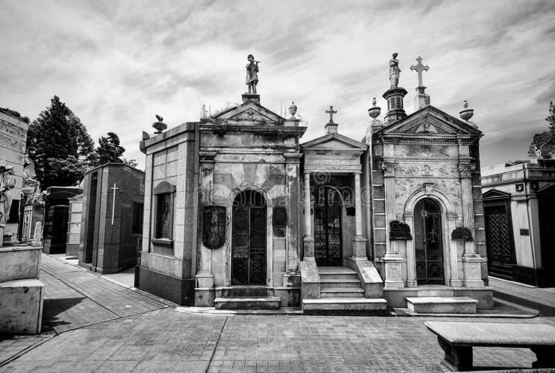 BUENOS AIRES JANUARI 30, 2016 - LaRecoleta kyrkogård som lokaliseras i den Recoleta grannskapen royaltyfri bild