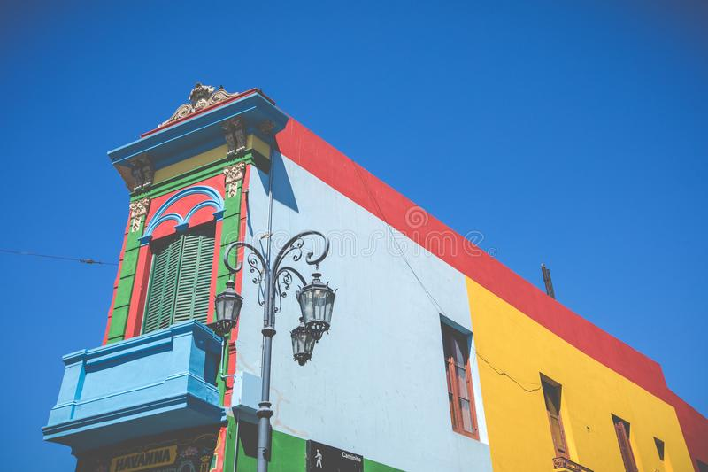 BUENOS AIRES - JANUARY 31, 2018: Colorful area in La Boca neighborhoods in Buenos Aires. Street is a major tourist attraction & t stock images