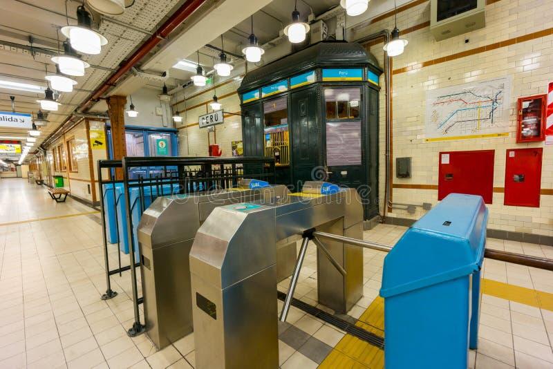 BUENOS AIRES, JANUARY 20, 2016 - Subway station. BUENOS AIRES, JANUARY 20, 2016 - Peru subway station, line A royalty free stock photos