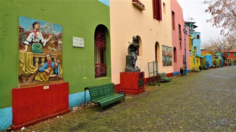 Buenos Aires La Boca neighborhood. Colorful mural in La Boca neighborhood using colors using the surplus paints of the port stock photos