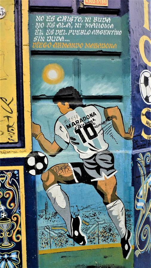 Buenos Aires La Boca neighborhood. Diego Marona graffiti in La Boca neighborhood using the surplus paints of the port stock photo