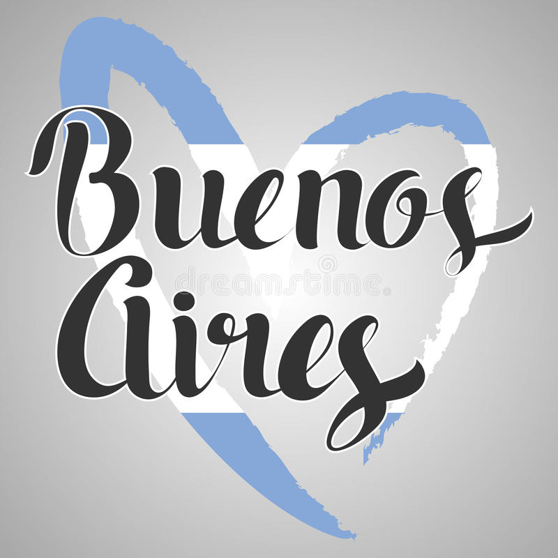 Buenos Aires lettering. Hand written Buenos Aires. Modern hand l vector illustration