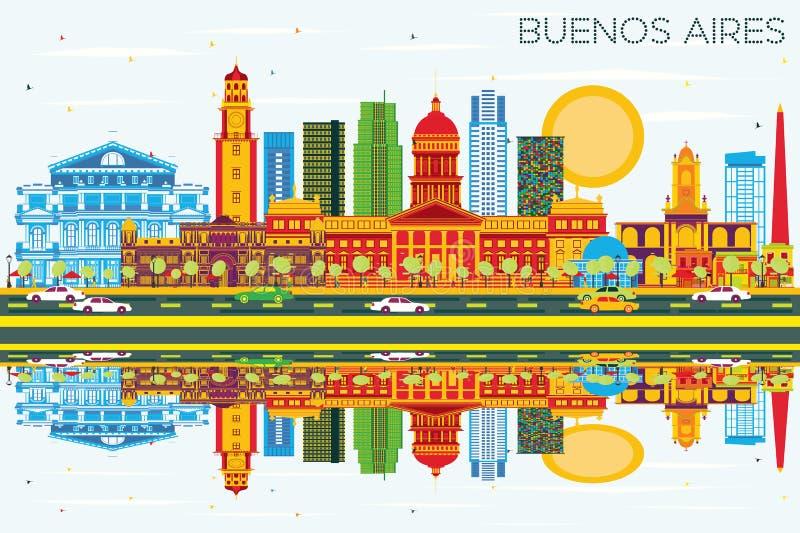 Buenos Aires linia horyzontu z kolorów punktami zwrotnymi, niebieskie niebo ilustracja wektor