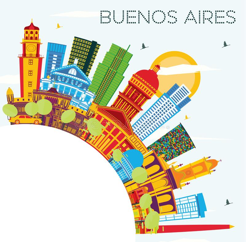 Buenos Aires linia horyzontu z kolorów punktami zwrotnymi, niebieskim niebem i kopia zdrojem, royalty ilustracja