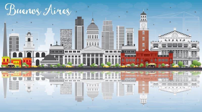 Buenos Aires linia horyzontu z punktami zwrotnymi, niebieskim niebem i Reflecti koloru, ilustracji