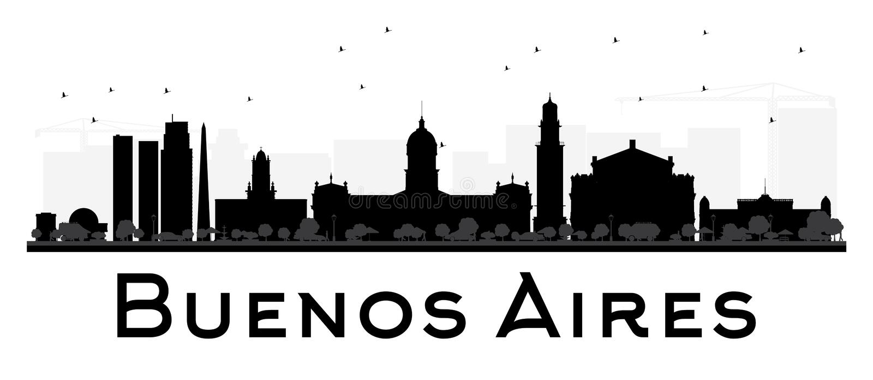 Buenos Aires linii horyzontu czarny i biały sylwetka ilustracji