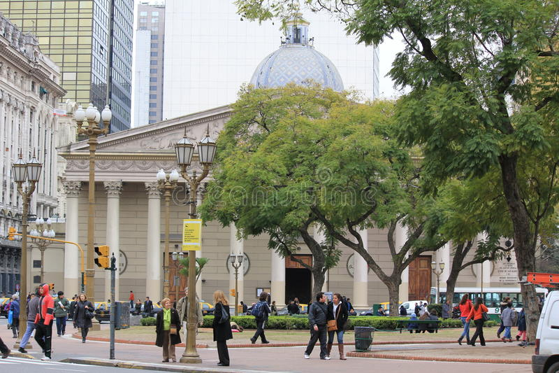 The Buenos Aires Metropolitan Cathedral. The main Catholic church in Buenos Aires, Argentina, located in the city center, at Plaza de Mayo stock photo