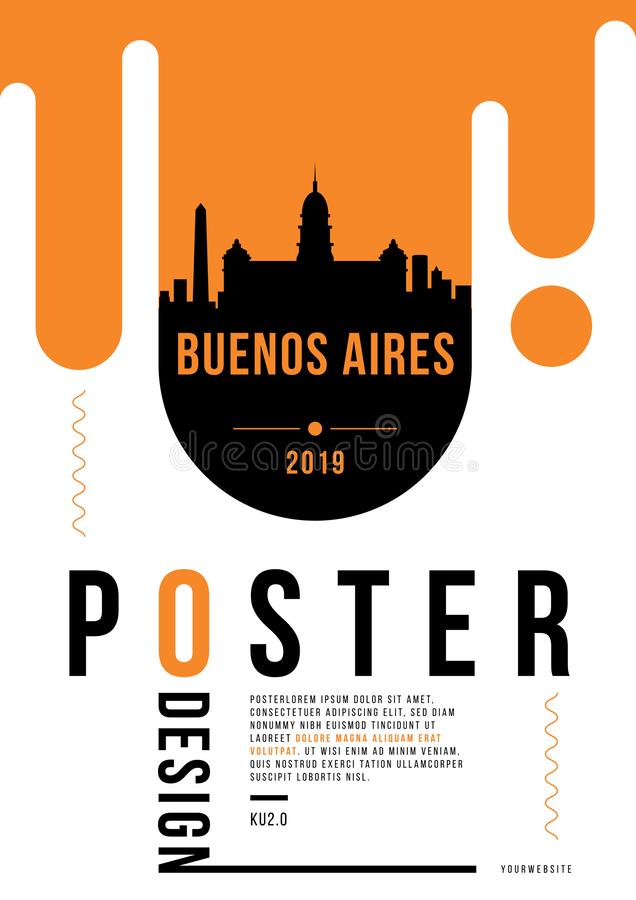 Buenos Aires Modern Poster Design with Vector Linear Skyline stock illustration