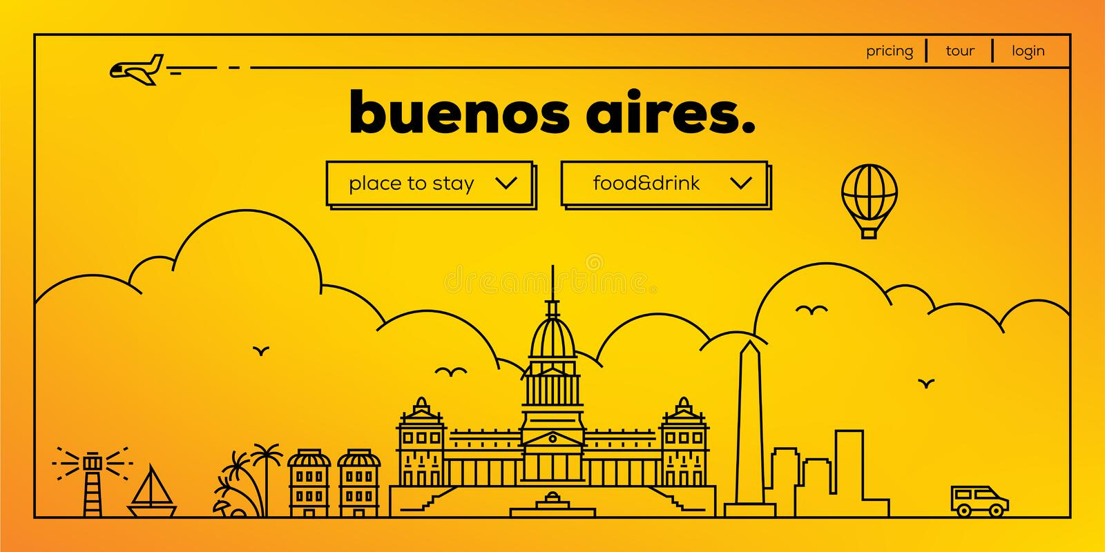 Buenos Aires Modern Web Banner Design with Vector Linear Skyline stock illustration