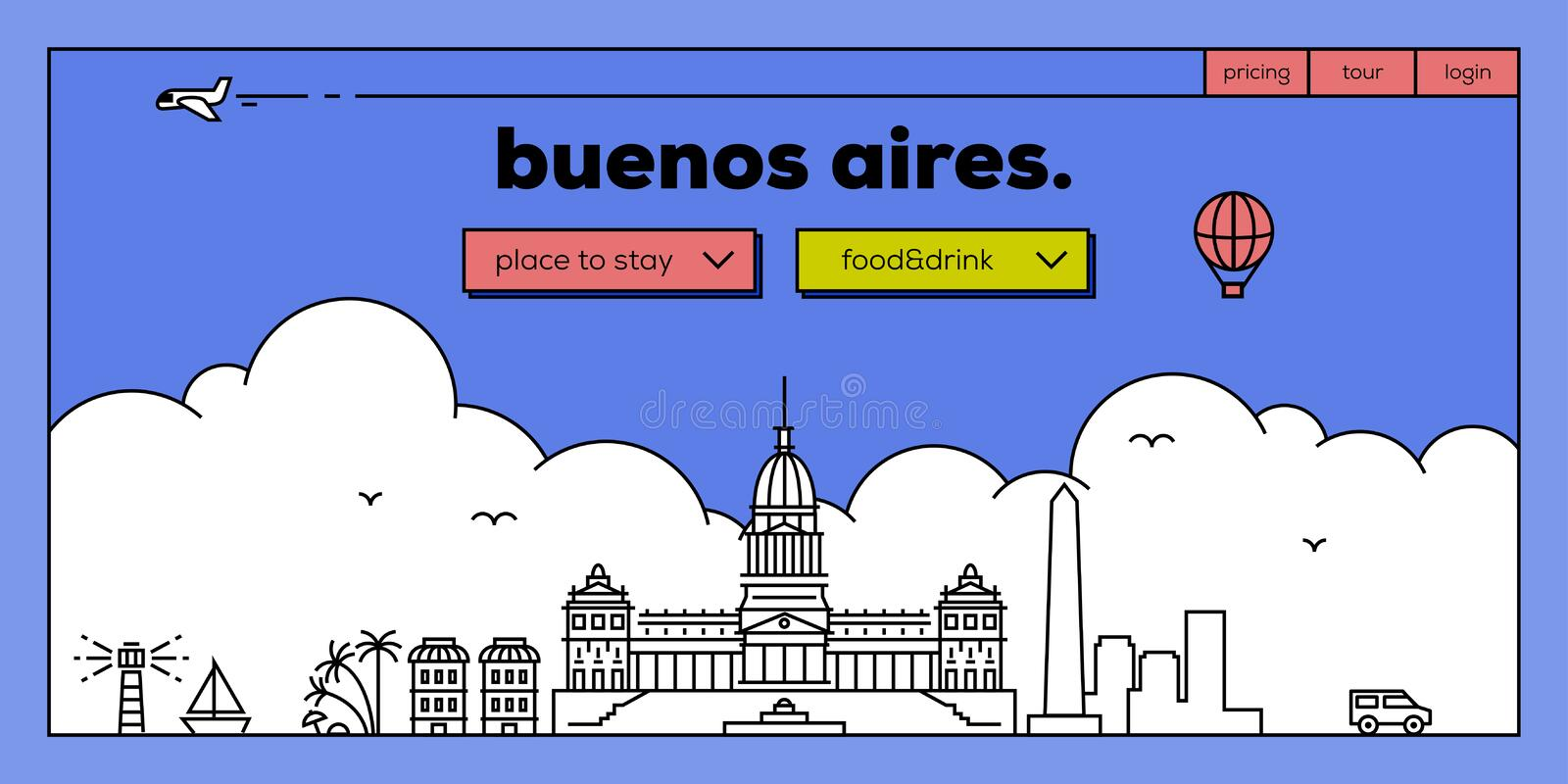 Buenos Aires Modern Web Banner Design with Vector Linear Skyline vector illustration