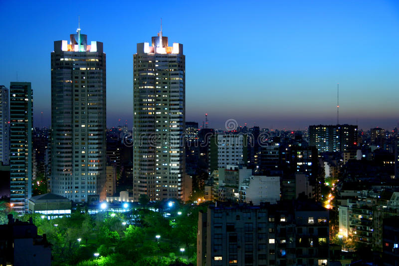 Buenos Aires at night. Landscape royalty free stock photo