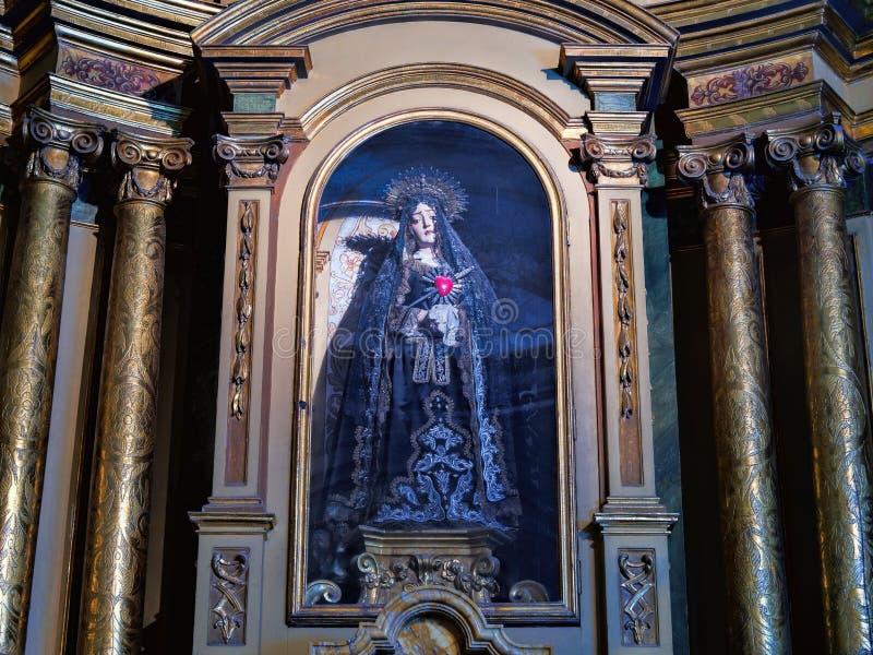 BUENOS AIRES, o 15 de dezembro de 2016 - interior da catedral imagens de stock